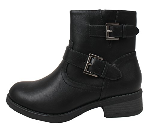 Soda Women's Closed Toe Double Buckle Strap Riding Ankle Boot, Black, 55 M US (7.5 B(M) (Strap Riding Boots)