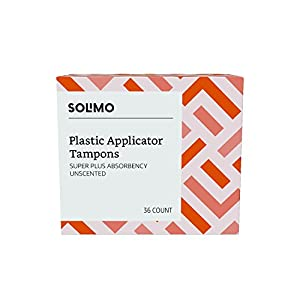 Amazon Brand - Solimo Plastic Applicator Tampons, Super Plus Absorbency, Unscented, 36 Count