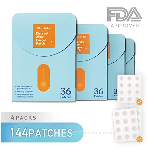 DERMAKR Discreet Acne Pimple Patch | Spot Cover & Treatment Solution Cystic Acne & Pimple Scars | Hydrocolloid Facial Stickers | Waterproof & Bacteria Free Patches Quick Healing Pimples (4packs)