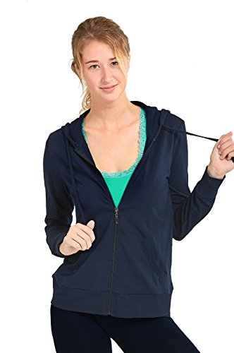 Teejoy Women's Thin Cotton Zip Up Hoodie Jacket (L, Navy)