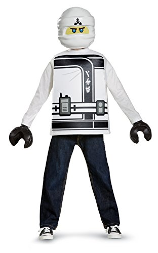 Disguise Zane Lego Ninjago Movie Classic Costume, White, Small (4-6) -
