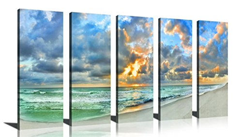 YPY Blue Green Canvas Wall Art 5 Panels Cloudy Sky Sunrise Oil Painting Stretched and Framed for Home Decor Bedroom Living ()