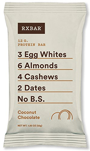 Bar Chocolate Coconut - RXBAR Whole Food Protein Bar, Coconut Chocolate, 1.83oz Bars, 12 Count