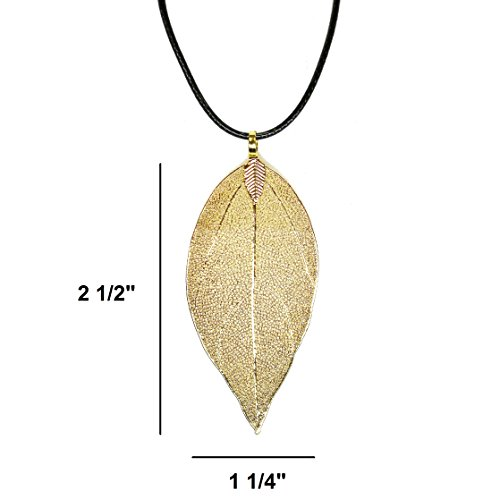 Unique Real Nature Leaf Pendant Dipped Gold Toned Necklac...