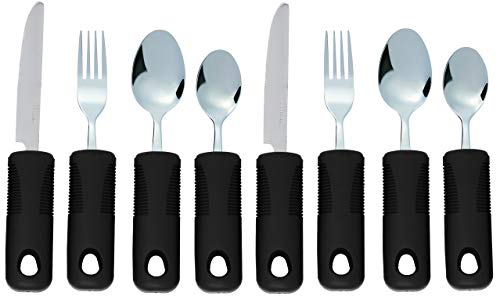 Adaptive Utensils (8-Piece Kitchen Set) Wide, Non-Weighted, Non-Slip Handles for Hand Tremors, Arthritis, Parkinson's or Elderly use | Stainless Steel Knife, Fork and Spoons (Black - 2 Sets)