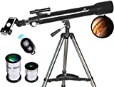 Telescope, Astronomy Refractor Telescopes, 70mm Apeture Scope 700mm AZ Mount for Astronomy Beginners with Tripod & Smartphone Adapter & Bluetooth Camera Remote