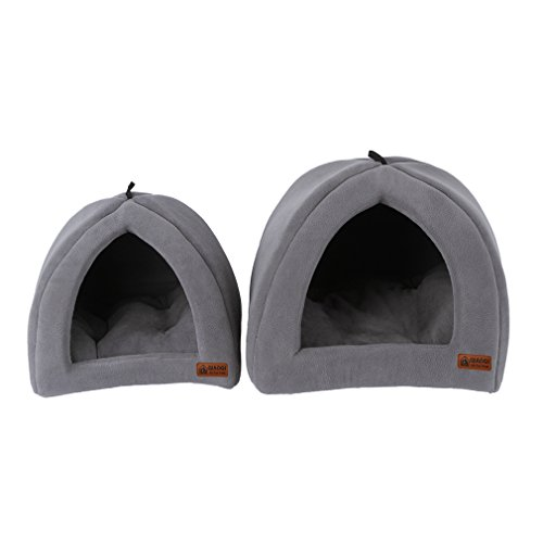 Pet Bed House, Cat Igloo ,QIAOQI Soft Pet Dog Cat Bedding Sleep Tent Bed Cushion Nest Large Grey Nest Large Bed Cover