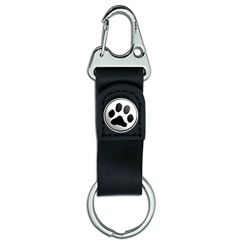 - Belt Clip On Carabiner Leather Keychain Fabric Key Ring Paw Print - Paw Print