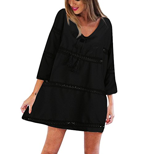- Willow S  Women Summer Casual Fashion Solid Elegant Three Quarter Sleeve Loose Lace Beach Short Mini Dress Black