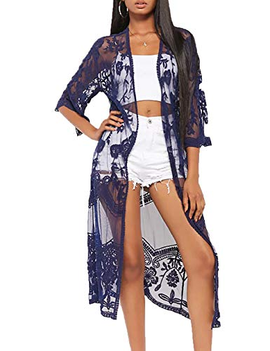 Womens Long Embroidered Lace Crochet Swimsuit Bathing Suit Cover Ups Sheer Kimono ()