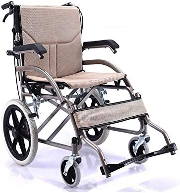 車椅子 自走式車椅子 折りたたみ製鉄 車椅子,取り外し可能なダブルクッション、塗装済み 折りたたみ車椅子 (Color : Beige)