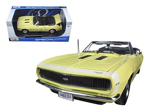 Maisto 1967 Chevrolet Camaro SS 396 Convertible Yellow 1/18 Model Car