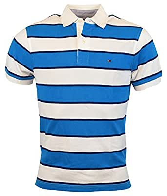 Tommy Hilfiger Mens Classic Fit Striped Cotton Polo Shirt - XXL - Blue/White