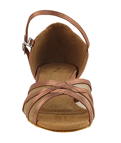 Very Fine Ballroom Salsa Practice Dance Shoes for Women 6027FT 1-Inch Heel + Foldable Brush Bundle Tan Satin 3IpIip9