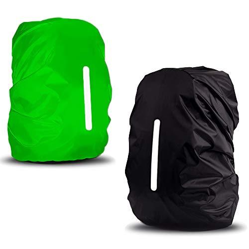 sinzau Regenhoes voor rugzak, 35 l, met reflecterende strepen en verstelbare gesp, 2 stuks, zwart en groen
