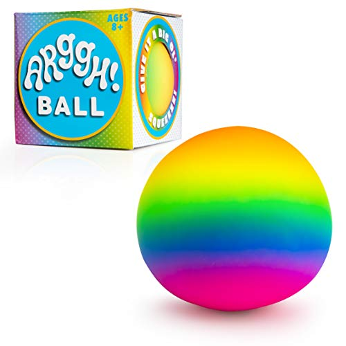 Power Your Fun Arggh Rainbow Giant Stress Ball for Adults and Kids, 5-Inch Jumbo Squishy Stress Relief Ball Fidget Toy…