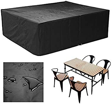 MVPOWER Cubierta Impermeable para Muebles Funda Protectora para Muebles Sillas Sofás Mesas Cubierta de Exterior Color Negro (250x 200x 80cm) …