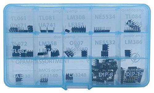 Opamp Assortment 30 pcs, incl  Sockets, single dual adapter TL061