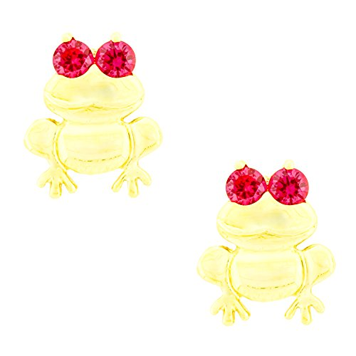 14K Yellow Gold Frog Stud Kids Earrings With Safety Screw Backs (July-Ruby)