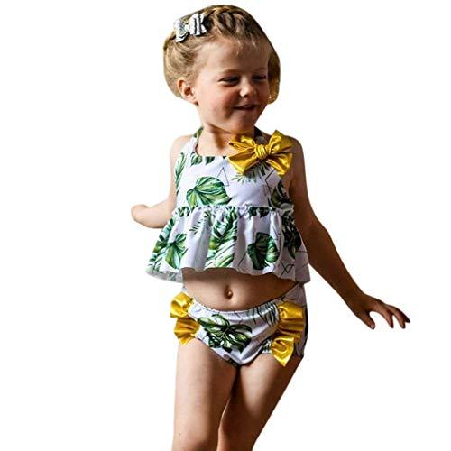 a904c2fb6dc Sunhusing Toddler Kids Sleeveless Leaves Printed Bow Embellished Frill Tops+Printed  Swimwear Split Swimsuit Set
