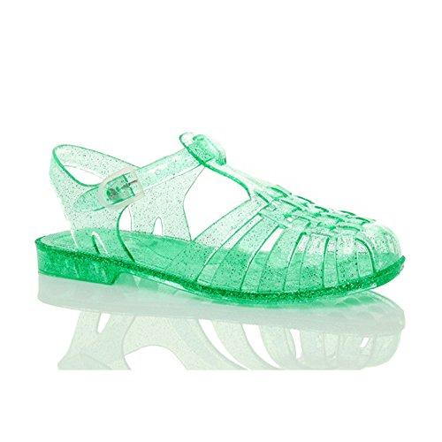 - Ajvani Women's Flat Low Jelly Rubber Retro 90s Buckle Sandals Shoes Size 6 37