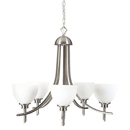 Yosemite Home Decor 189-5U-SS 5-Light Chandelier with Dove White Glass from Sierra Point Family, Satin Steel