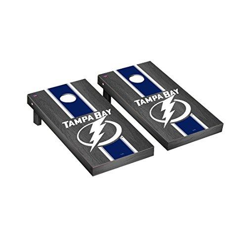 Tampa Bay Lightning Cabinet - Victory Tailgate Tampa Bay Lightning NHL Regulation Cornhole Game Set Onyx Stripe Version