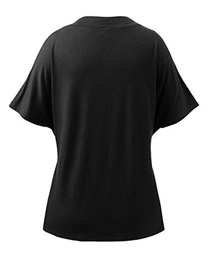 LemonGirl Women's Batwing Short Sleeve Shirt Blouse Tops Black
