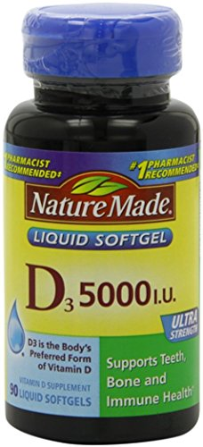 Nature Made Vitamin D3 5000 IU Liquid Softgels 90 ea (Pack of 2)