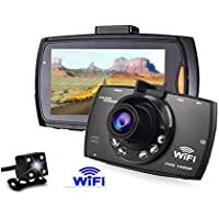 KuLio Dash Cam, Car Dashboard Camera Vehicle DVR Full HD 1080P 120 Degree Wide Angle with Night Vision,WIFI Funtion,Reserve Rearview Camera