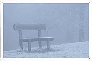"Planet Scene Poster - Bench In Fog Tin Sign (8""x12"")"