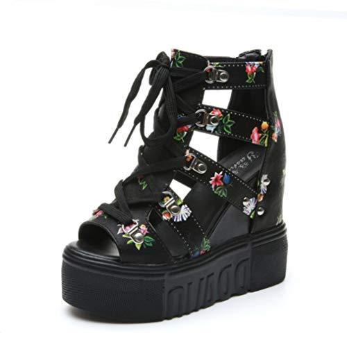 BEOTARU Women Platform Sandals Print Gladiator Summer Open Toe 16CM High-Heeled Beach Wedges Sneakers