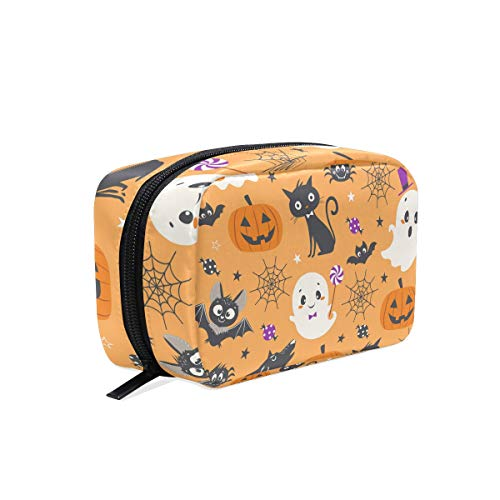 Happy Halloween Pumpkin Wolf Cosmetic Bag Makeup Case Toiletry Pouch -