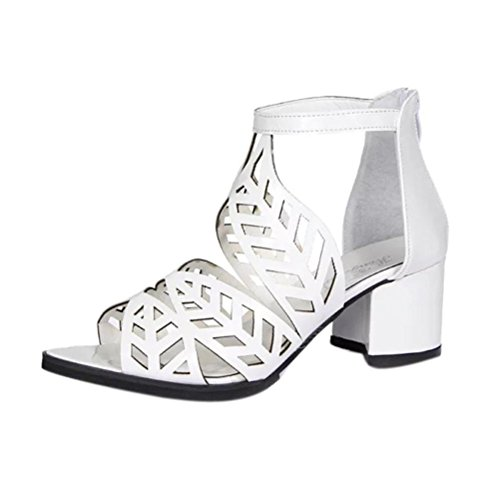 White Knotted Leather (Women Sandals Daoroka Ladies Chunky Block Wedge High Heel Open Toe Bohemian Elegant Soft Casual Work Party Outdoor Dress Shoes (US:7, White))