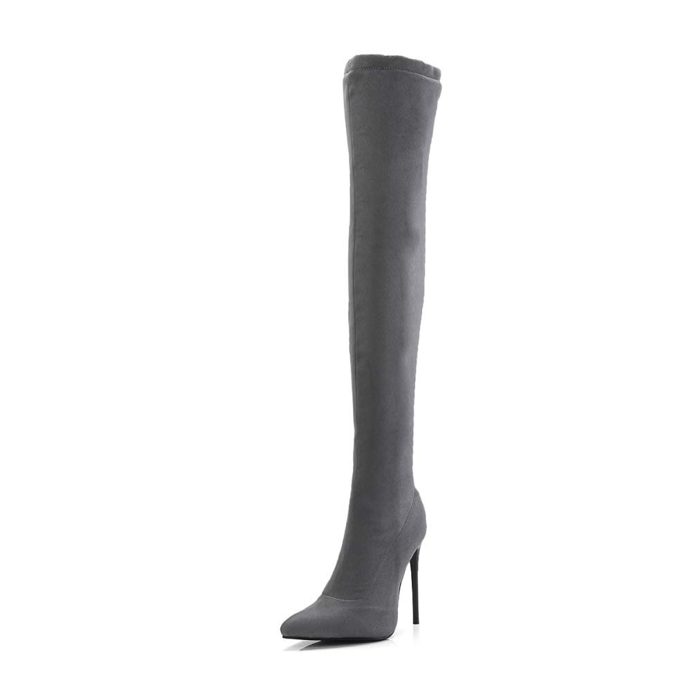 QINGMM Frauen Über Die Knie Stiefel Herbst Winter 2018 Faszinierende Faszinierende Faszinierende Super High Heel Wildleder Stiefel Große Größe,Grau,37 EU  f78349