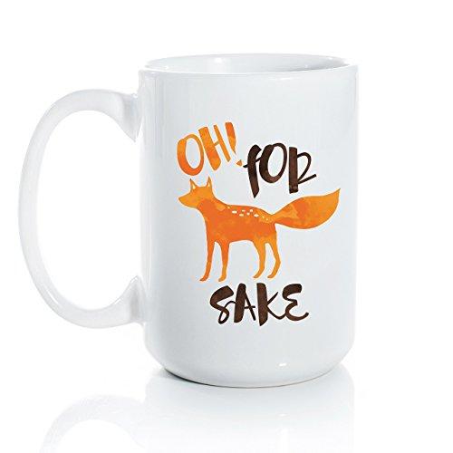 Oh! For Fox Sake Ceramic Coffee Mug - Large 15oz Coffee Cup - Fox and Clover Original