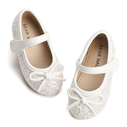 Bear Mall Toddler Little Girls Ballet Flat Shoes Bowknot Mary Jane Shoes for Wedding Party Princess Dress Shoes (9 M US Toddler, Glitter White)
