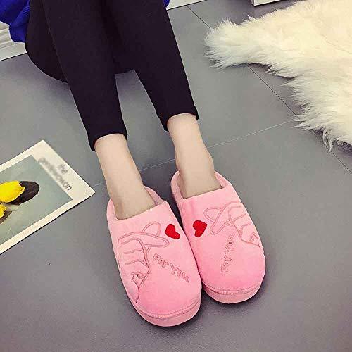 Chaussures Baotou Someusun En Femmes D'hiver Pantoufles Plancher Chaussons Rose De D'intérieur Réchauffent Pour Plates Souples Les les Coton AYB1nFY