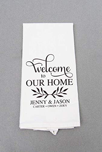 Custom Personalized Housewarming Print Towel - Welcome - Kitchen/Bath Hand - Personalized Towels Kitchen