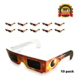 Solar Eclipse Glasses: CE Certified, Eclipse Shades, Solar and Sun Eye Protection, These Glasses are Safe, Light, Reusable - Perfect for the 2017 Total Solar Eclipse - 10 Pack