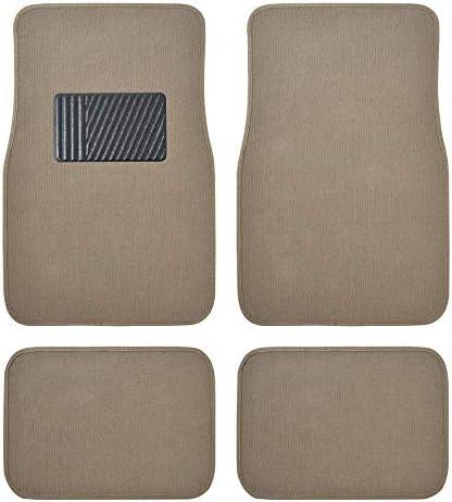 BDK Classic Carpet Floor Mats for Car & Auto – Universal Fit -Front & Rear with Heelpad (Medium Beige) (MT-100-CPTSERIES)