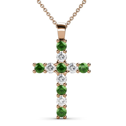 Green Garnet and Diamond (SI2-I1, G-H) Cross Pendant 0.85ct tw in 14K Rose Gold With 14K Gold Chain