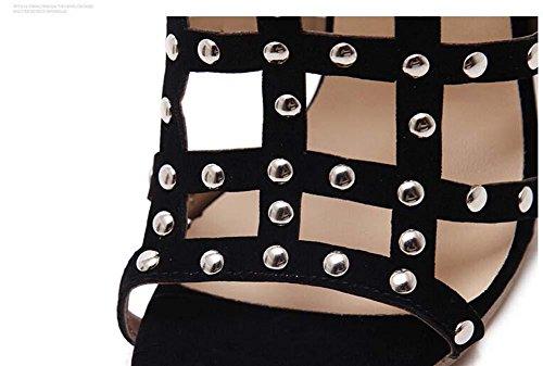 Gladiator Kühle Stiefel Ultra-high-heeled Stilett Sandalen Dame Sexy Hohl Nieten Offener Zeh Reißverschluss Sandalen Party Schuhe Römische Schuhe Abendschuhe Eu Größe 35-40