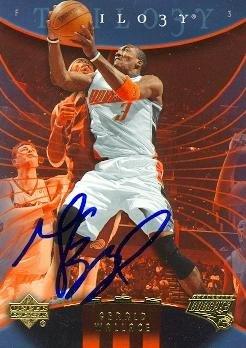 Autograph Warehouse 86938 Gerald Wallace Autographed Basketball Card Charlotte Bobcats 2006 Upper Deck Trilogy No .8