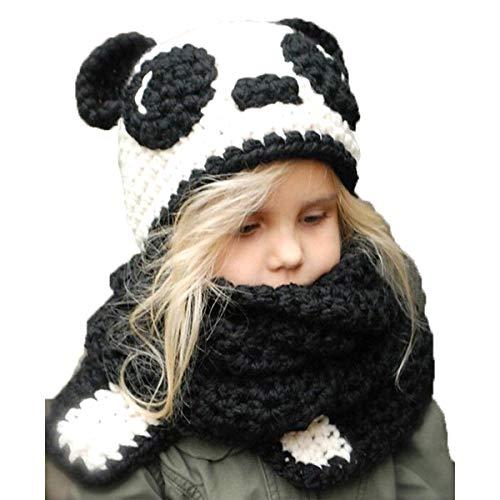 Children Kids Hand Made Woolen Ears Striped Knit Bib Hat Gloves,Warm Animal Hats Hood Scarf Beanies Pandas ()