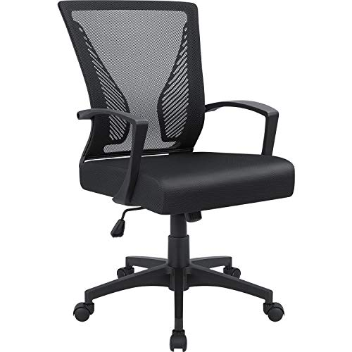 Mid Back Swivel Lumbar Support Desk Chair, Computer Ergonomic Mesh Chair with Armrest (Black) ()