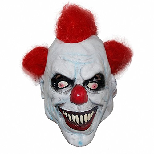 Mask Adult Latex & Red Hair Halloween Prank Pennywise Evil Scary Fancy Dress Props (Scream Costume Prank)