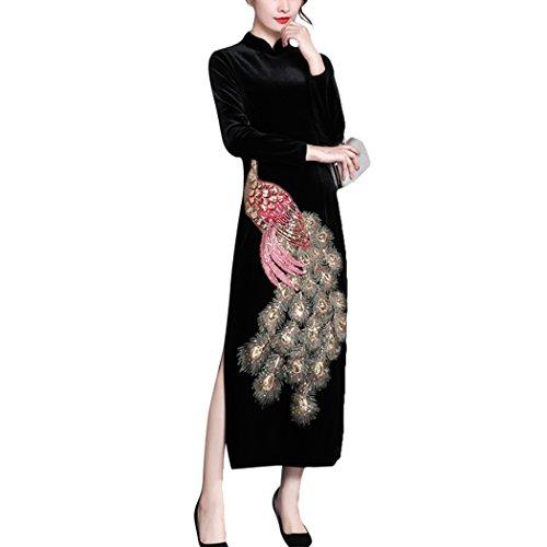 HÖTER Womens Qipao High Split Slim Dress Printed Sleeveless Vintage Chinese Silk Cheongsam