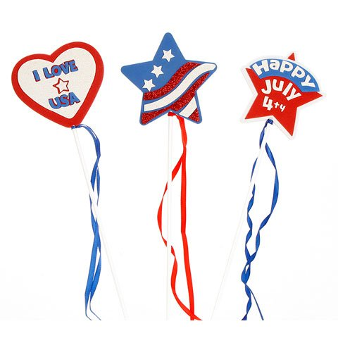 Red, White and Blue Patriotic Wands with Foam Shapes and Tassels,18