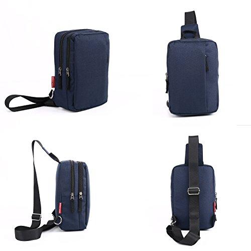 Classic Lightweight Casual Messenger Bag Canvas Satchel Vintage Shoulder Crossbody Bag Briefcase for Men and Women (Navy Blue) by EBEYUKI (Image #2)